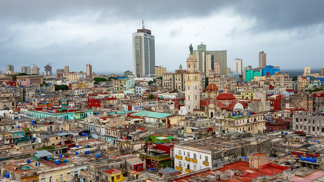 Aerial view of the city of Havana with a stormy sky