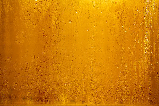 Drops on a glass of beer