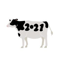 牛 2021年 シンプル イラスト 年賀状素材
