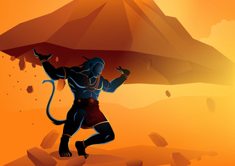 Hanuman lifting up Dronagiri mountain