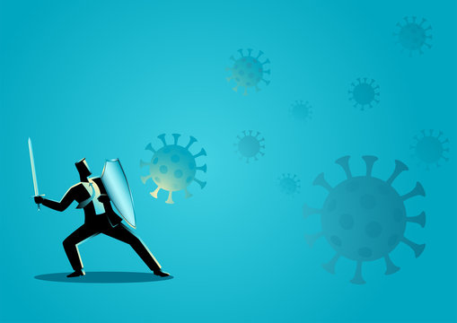 Businessman using shield and sword protecting himself from viruses