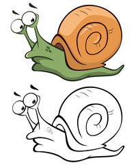 Photo sur Toile Chambre bébé Vector Illustration of a Cute Cartoon Character Snail for you Design and Computer Game. Coloring Book Outline Set ный-4