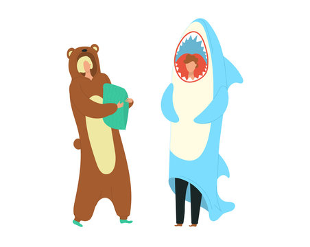 Party costumes people dressed in onesies representing bear and shark characters flat cartoon vector illustration. People wearing jumpsuits or kigurumi onesies isolated on white background.