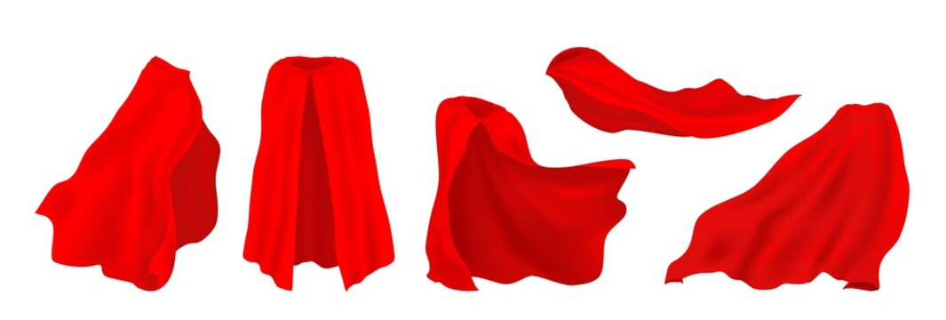 Red superhero cape. Realistic 3D hero cloak of drape, illusionist silk cloth, vampire decorative costume. Vector illustration carnival clothes set, isolated heroes mantle