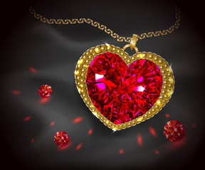 Beautiful gemstone red ruby. Red diamond. Jewelry pendant heart shaped. Vector illustration.