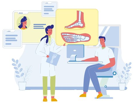 Two Male and Female Podiatrist Characters Discussing Patient Foot Deformation on X-Ray Cartoon Image. Pathology and Illness Medical Discussion. Medicine and Healthcare. Vector Flat Illustration