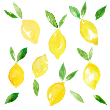 Watercolor illustration of citrus set. Yellow lemons with leaves.