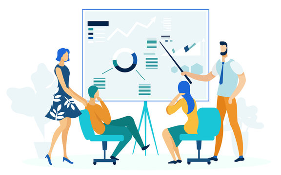 Annual Business Report Flat Vector Illustration. Office Worker and Bosses, Teacher and Students Cartoon Characters. Economic School Lecture, Corporate Coaching. Financial Statement, Presentation
