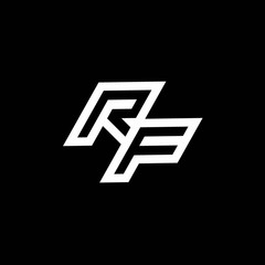 RF logo monogram with up to down style negative space design template