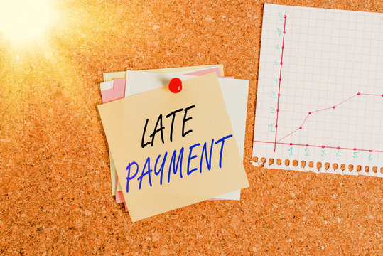 Writing note showing Late Payment. Business concept for payment made to the lender after the due date has passed Corkboard size paper thumbtack sheet billboard notice board
