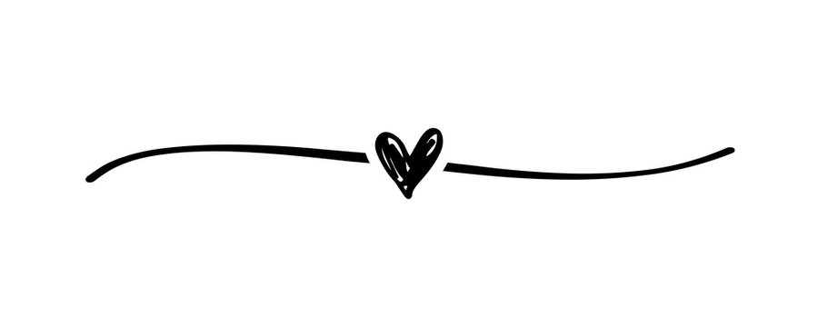 Hand drawn elegant shape heart with cute sketch line, divider shape. Love doodle isolated on white background for wedding, mothers, womans or valentines day. Vector illustration