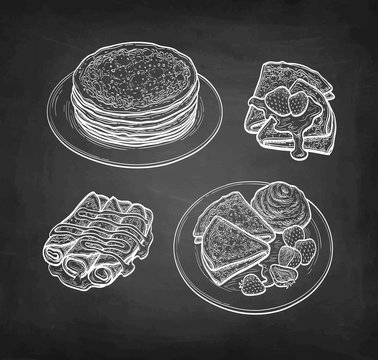 Chalk sketch of crepes