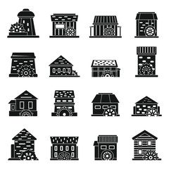 Old water mill icons set. Simple set of old water mill vector icons for web design on white background