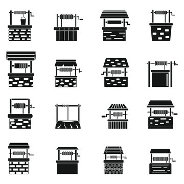 Water well farm icons set. Simple set of water well farm vector icons for web design on white background