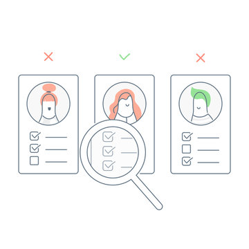 Recruitment, finding the right employee  through magnifying glass to hire candidates. Recruitment, cv or user portfolio analysis, hiring or recruitment. Flat line light vector illustration on white