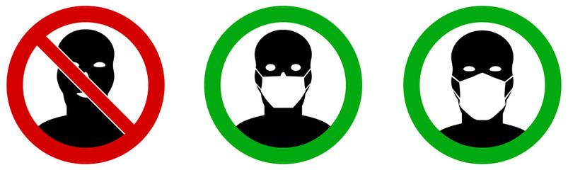 No entry without / please wear face mouth mask icon. Sign can be used during coronavirus covid19 outbreak prevention