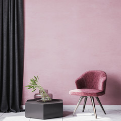 Red wall interior mockup for Stylish reading corner area. black wooden chair and curtain, Styled stock photography. home decor . template