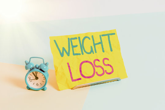 Handwriting text Weight Loss. Conceptual photo the fact of a demonstratings is or an animals is body weight becoming less Mini size alarm clock beside a Paper sheet placed tilted on pastel backdrop