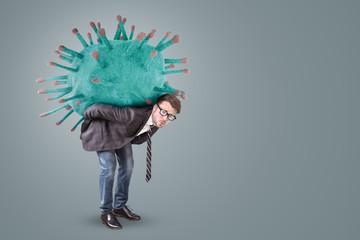 Businessman carrying an oversized Virus