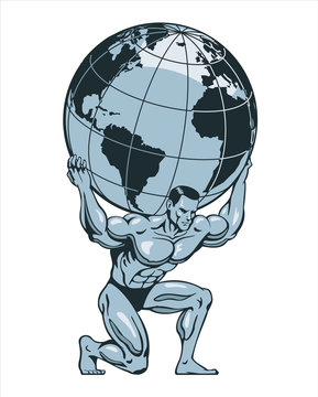 Atlas or titan kneeling carrying lifting globe world earth on his back. Bodybuilder. Vector illustration.