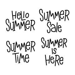 Set of Summer phrases. Hand lettering phrases for typographic design for poster, social media, advertizing. Design element.