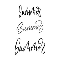 Set of modern brush calligraphy word Summer. Typographic design element for poster, print, social media, advertizing. Isolated on white background.