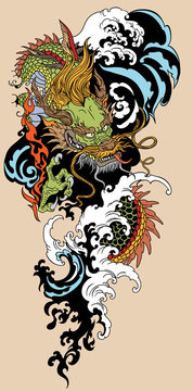 Chinese or East Asian dragon with water waves. Tattoo. Vector illustration