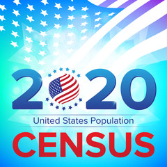 United States Population Census 2020 banner. Vector illustration with American striped flag and stars. Can be used for landing page web template, badge or advertisement poster and flier graphic design