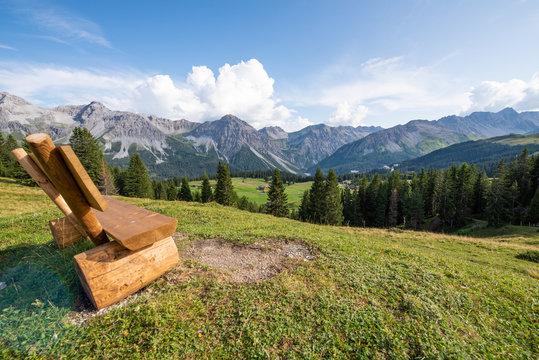 Panorama Landschaft in Arosa im Kanton Graubünden / Schweiz