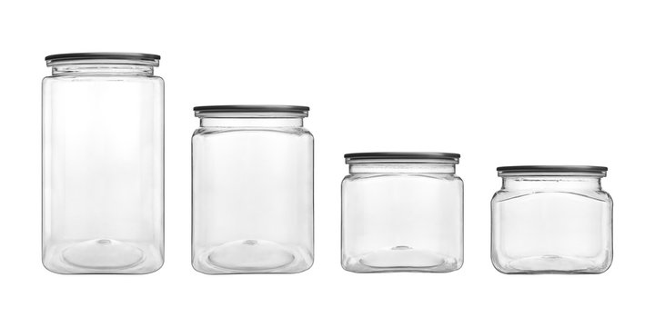Empty transparent glass jar isolated on white