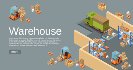 Warehouse isometric 3D vector illustration of modern industrial warehouse and logistics transportation and delivery vehicles