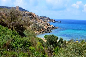 Piękny krajobraz nadmorski plaża na Malcie