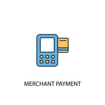 Merchant payment concept 2 colored line icon. Simple yellow and blue element illustration. Merchant payment concept outline symbol design