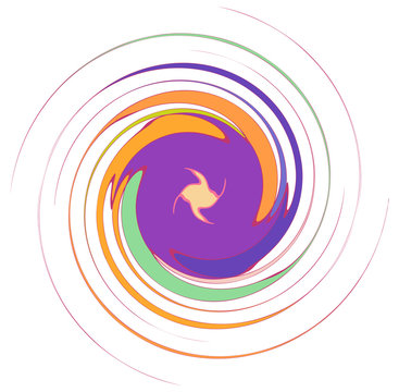 Abstract spiral, swirl, twirl and vortex shapes in vivid, vibrant colors