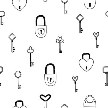 Seamless pattern with keys and locks. Vintage repeat background with white backdrop