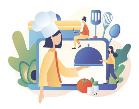 Food blogging. Recipes. Home cooking online. Professional chef holding dish. Tiny People Cook. Modern flat cartoon style. Vector illustration on white background