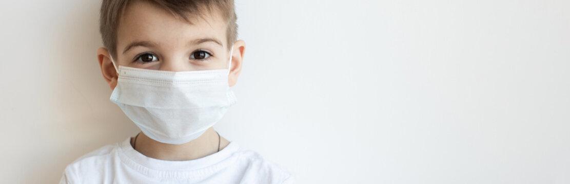 Concept of coronavirus quarantine. Child in mask . Protection against virus, infection. Health. Medical virus poster design