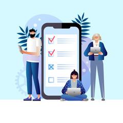 online survey vector illustration concept, people filling online survey form on gadgets, to do list paper note