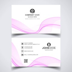 Modern business card template with pink wave