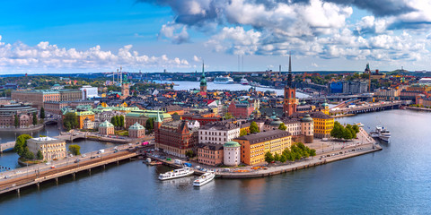 Foto auf AluDibond Stockholm Scenic summer aerial panoramic view of Gamla Stan in the Old Town in Stockholm, capital of Sweden