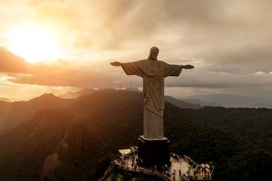 Rio de Janeiro, Brazil - 21.11.2019: Aerial view of Christ Redeemer statue