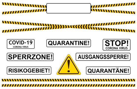 Absperrband Corona Virus Sperrgebiet Schilder Set