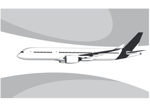 Airbus A350-800.. Flying airplane, takeoff airliner, commercial jet aircraft, airliner. Vector illustration. Vector template.