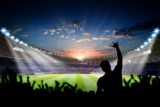 Football Stadium 3d rendering soccer stadium with fan and crowded field arena