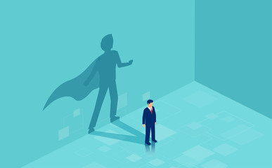 Vector of a confident business man with a super hero shadow