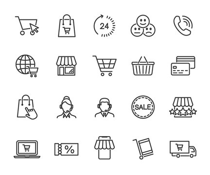 Vector set of online shopping line icons. Contains icons online store, feedback, shopping cart, delivery, support, payment card and more. Pixel perfect.