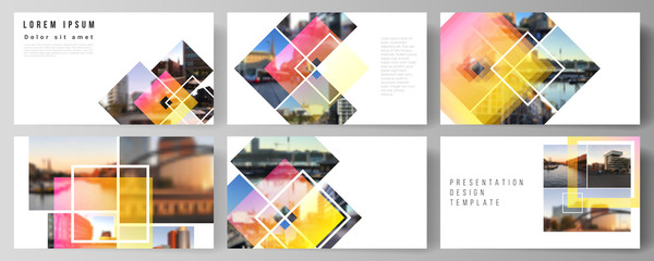 The minimalistic abstract vector illustration of the editable layout of the presentation slides design business templates. Creative trendy style mockups, blue color trendy design backgrounds.