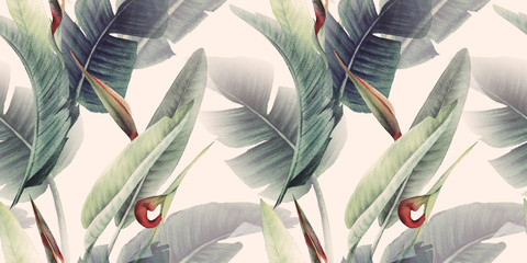 Obraz Seamless floral pattern with tropical flowers and leaves on light background. Template design for textiles, interior, clothes, wallpaper. Watercolor illustration - fototapety do salonu