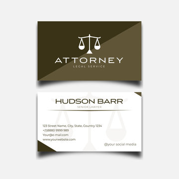 Law firm, lawyer business card template minimalist with classic logo vector