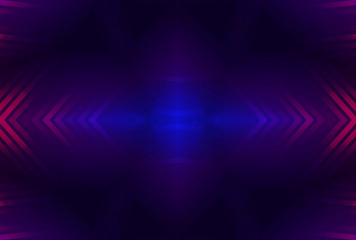 Dark abstract futuristic background. Neon glow, light lines, shapes. UV radiation. Empty Stage...
